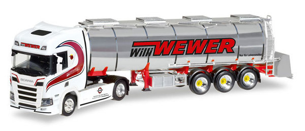 Herpa 308427 Scania CR HD Chromtank-Sattelzug Willi Wewer